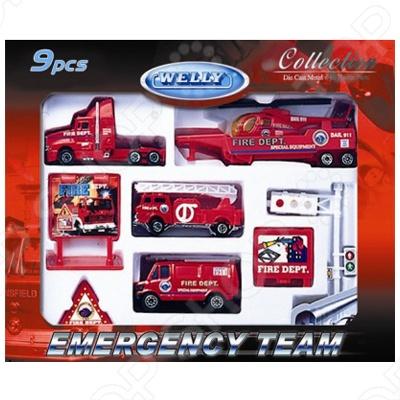 Набор машинок игрушечных Welly «Служба спасения. Пожарная команда» 98630-9C