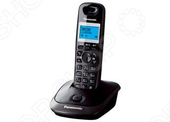 Радиотелефон Panasonic KX-TG2512 работает в диапазоне частот от 1880 до 1900 МГц с радиусом действия 50-300 метров. Аккумуляторов или батареек формата AAA волне хватит на 170 часов в режиме ожидания и 18 часов в режиме разговора. Функция АОН автоматически определяет номер телефона звонящего, а исходящие или входящие звонки помещаются в память, где потом можно просмотреть 50 последних номеров.