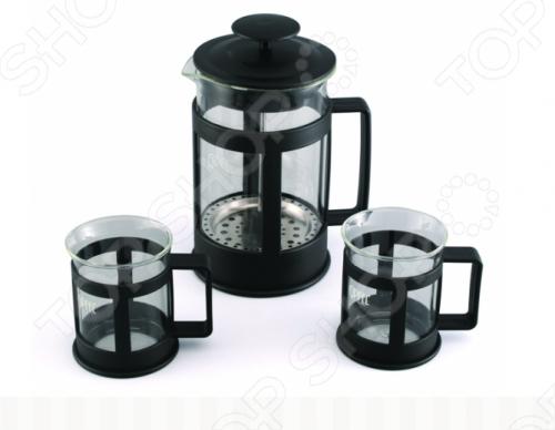 Набор: чайник заварочный с поршнем и 2 кружки для кофе Gipfel GLACIER-SEVILLA 7440 заварочный чайник gipfel 7213 glacier memphis 350мл