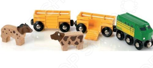 Грузовые вагоны с животными Brio 33404  brio локомотив и грузовые вагоны с животными