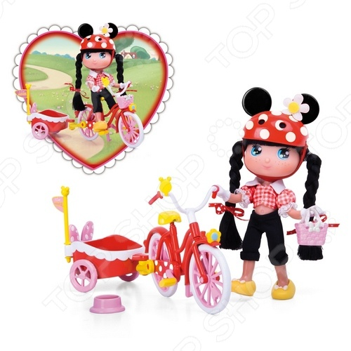 Кукла Famosa «Минни в наборе с велосипедом»Куклы<br>Кукла Famosa Минни в наборе с велосипедом позволит маленькой путешественнице отправиться на велосипедную прогулку. Ее велосипед и костюм выполнены в стиле знаменитой подружки Микки Мауса Минни. Кроме того, в наборе присутствует специальная тележка, куда можно посадить любимого питомца и отправиться в путь вместе.<br>