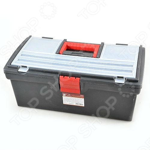 Ящик для инструментов с органайзером для крепежа КФСумки. Ящики. Шкафы для инструментов<br>Вы не можете найти какой-либо рабочий инструмент из-за вечного беспорядка и постоянно меняющегося его местоположения! Найдено решение ваших проблем... Ящик для инструментов с органайзером для крепежа - прекрасный подарок для сильной части населения! Основными особенностями данной модели стали: материал изготовления - пластик, съемный лоток и крышка со встроенным органайзером для хранения крепежа и мелких деталей. Теперь весь инструментарий в полном и весьма симметричном порядке... Порадуйте своих любимых мужчин столь приятным, а главное, полезным сюрпризом, как ящик для инструментов с органайзером для крепежа, который не только наведет порядок в его рабочем инвентаре, но и поможет не нервничать лишний раз при поиске того, или иного приспособления!<br>