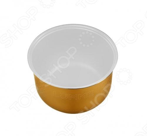 Чаша для мультиварки LUMME LU-MC301 запасной элемент для моделей со стандартной чашей на 5 литров. Имеет двухслойное керамическое покрытие, которое позволяет в процессе готовки использовать значительно меньше масла. Толщина стенок всего 1.2 мм способствует равномерному нагреву чаши.