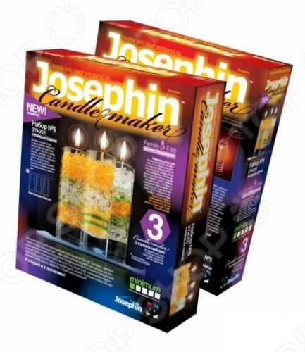 Набор для изготовления гелевых свечей Josephine 5 включает в себя все необходимое для создания уникальных авторских гелевых свечей в домашних условиях. В комплект входят: две баночки геля, три стаканчика, три отрезка фитиля, цветной песок, пакетик с блестками, пластмассовый нож и ложечка. Вы сможете сделать целых три варианта различных свечей. Процесс приготовления предусматривает использование водяной бани, поэтому детям до 14 лет рекомендуется помощь родителей.