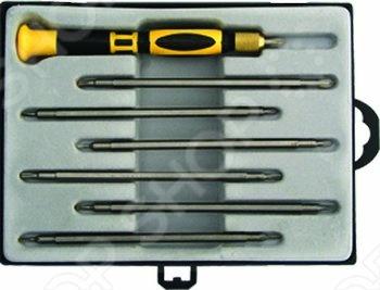 Переставная отвертка FIT IT комплектуется сменными битами и насадками с разными типами наконечников, что расширяет спектр применения данного инструмента. Эргономичная рукоятка отвертки имеет прорезиненную накладку, что исключает выскальзывание инструмента из рук пользователя. Для удобства хранения и транспортировки, инструменты поставляются в пластиковом чемодане.