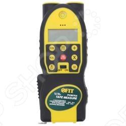Дальномер ультразвуковой FIT 18688Дальномеры<br>Дальномер ультразвуковой FIT с лазерной указкой и встроенной рулеткой 5 м.х19 мм. К особенностям данной модели можно отнести - жидкокристаллический дисплей, который позволяет производить быстрые и точные измерения длины, имеет функцию расчета площади и объёма. Диапазон измерений от 0.45 м до 18 м, дискретность 0.01 м. Источник питания: 1x9V . Материал: пластиковый корпус. Упаковка: блистер.<br>