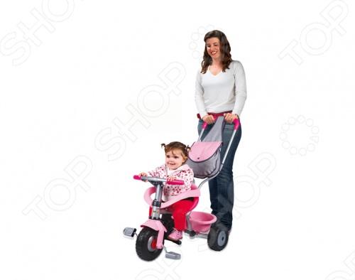 Велосипед Smoby трехколесный 444141Велосипеды для малышей<br>Велосипед Smoby трехколесный 444141 отличный подарок для вашей малышки. Трехколесное транспортное средство позволит ребенку самостоятельно осваивать пространство. Пока малышка не научится сам кататься на велосипеде, родители смогут катать ее, благодаря наличию удобной съемной ручки, которая может регулироваться по высоте. Яркая расцветка рамы обязательно понравится вашей малышке. Наличие ремня безопасности не дадут ребенку упасть во время катания. Наличие вместительной корзины сзади позволят уместить игрушки ребенка, а рюкзак на ручке позволит родителям взять необходимые для прогулки вещи. Велосипед Smoby трехколесный 444141 поможет развить моторику, мышечную массу, координацию движения и внимательность вашей малышки.<br>