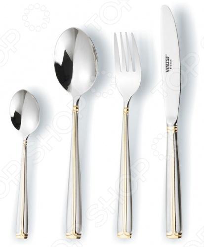 Набор столовых приборов Vitesse LindsayСтоловые приборы<br>Набор столовых приборов Vitesse Lindsay состоит из 24 предметов: 6 ножей, 6 столовых ложек, 6 вилок и 6 чайных ложек. Приборы выполнены из качественной полированной стали и прекрасно подойдут для сервировки стола, как в домашнем быту, так и в профессиональных заведениях - кафе, ресторанах. Набор столовых приборов Vitesse Lindsay украсит любой стол и всегда будут важной частью трапезы, а также станет замечательным подарком. Все предметы набора хранятся в коробке.<br>