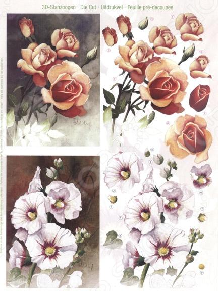 фото Аппликация вырубная для объемных рисунков Reddy Creative Cards «Розы и Мальва», купить, цена