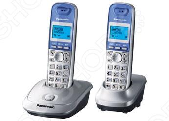 Радиотелефон Panasonic KX-TG2512 представляет из себя две трубки с базами к ним. Может крепится на стену. Есть специальная кнопка поиска трубки. Заряда хватает на 10 часов в режиме разговора и на 170 часов в режиме ожидания. Радиус действия составляет 50-300 метров. Разговор можно начать нажатием любой кнопки.