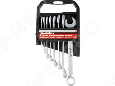 Набор ключей комбинированных MATRIX матовый хром, 8 шт. набор ключей комбинированных matrix полированный хром 8 шт 15422