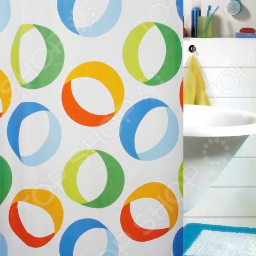 Штора для ванной комнаты Spirella RINGSКарнизы. Шторки для ванной<br>Штора для ванной комнаты Spirella RINGS это отличная штора, которая изготовлена из экологически чистого полиэстера. Верхняя кромка имеет отверстия для колец. Приятный рисунок успокаивает и замечательно вписывается в дизайн вашей ванной комнаты. Ткань штор нельзя гладить, сушить и отжимать в стиральной машине. Если необходимо очистить поверхность, то рекомендуется ручная стирка.<br>