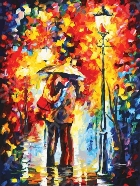 """Набор для рисования по номерам """"Белоснежка"""" Поцелуй под дождем"""