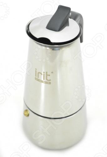 Кофеварка гейзерная Irit IRH эксперт в варке кофе. Кофеварка основана на принципе приготовления кофе под давлением пара. Кофеварка изготовлена из алюминия, а бакелитовая ручка не даст вам обжечься во время приготовления очередной порции кофе. Не подходит для индукционных плит.