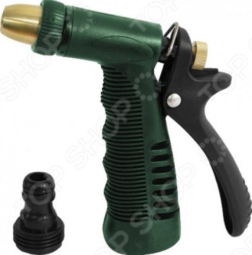 Пистолет для полива FIT - это удобный инструмент для полива садово-огородных участков. Поворотное сопло позволяет регулировать подачу воды от струи до распыления. Пистолет можно присоединить к шлангу, а так же совместим со всеми элементами аналогичной поливочной системы. Корпус изготовлен из цинкового сплава с резиновым покрытием.