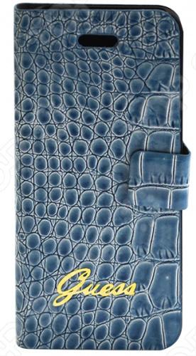 Чехол Guess Slim Folio Case Croco для iPhone 5 это прекрасный чехол-флип из эко кожи, который станет незаменимым аксессуаром для вашего смартфона. Отлично подходит по размерам для гаджета, практически не влияя на его вес и не затрудняя доступ ко всем его функциям. Благодаря шероховатой поверхности удобно лежит в руке. Чехол является отличной защитой от царапин, механических повреждений и нежелательных потертостей.