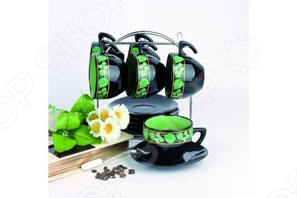 Набор чайный на подставке Фарфоровый путь Орех состоит из 12 предметов, 6 чашек по 265 мл. и 6 блюдец. Посуда имеет яркую черно-салатовую расцветку. Набор станет отличным подарком и прекрасно впишется в интерьер кухни. Все составляющие набора выполнены из керамики. В комплектацию товара входит удобная металлическая подставка.