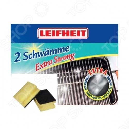 Губки для чистки загрязненных поверхностей Leifheit 40017Салфетки. Губки. Тряпки<br>Губки для чистки загрязненных поверхностей Leifheit 40017 сделаны таким образом, чтобы можно было очищать особенно загрязненные поверхности. С одной стороны у губки поролон, а с другой жесткий абразивный материал, который подходит для очистки присохших загрязнений. В комплекте 2 губки. Известная марка Leifheit предлагает качественные товары для дома. Вся их продукция отличается функциональностью и безупречным качеством.<br>