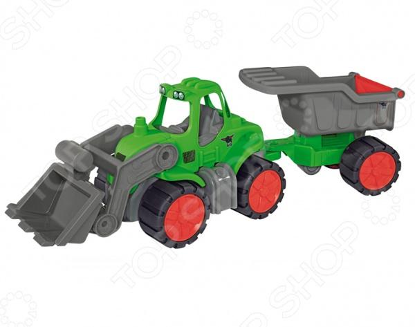 Самосвал с прицепом BIG Power TractorМашинки<br>Самосвал с прицепом BIG Power Tractor представляет собой реалистичную копию настоящей сельскохозяйственной техники. Машинка создана в забавном, красочном стиле. Кузов имеет округлые очертания, что очень нравится детям. В кабину модели можно посадить фигурку водителя. Ковш трактора поднимается, опускается и опрокидывается. Им можно грузить в прицеп камешки или песок. Отсоединяемый прицеп также можно поднимать, опускать и высыпать из него содержимое через заднюю крышку. Все эти возможности делают игровой процесс еще более захватывающим. Самосвал с прицепом BIG Power Tractor изготовлен из пластика и обладает потрясающей детализацией. Яркая машинка разнообразит игровые ситуации, откроет новые сюжеты для маленького автолюбителя и поможет развить мелкую моторику рук, внимание и координацию движений. Не упустите шанс порадовать своего малыша замечательным подарком!<br>