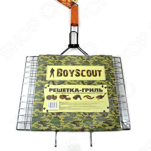 Решетка-гриль для 6 порций блюд с антипригарным покрытием BOYSCOUT решетка гриль boyscout 30 25 см с антипригарным покрытием