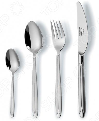 Набор столовых приборов Vitesse Falerina выполнен из нержавеющей стали. С его помощью можно сервировать стол необходимыми приборами. Упакован в подарочную коробку. Зеркальная полировка и сатинирование. В наборе 24 предмета: 6 ложек, 6 чайных ложек, 6 ножей, 6 вилок.