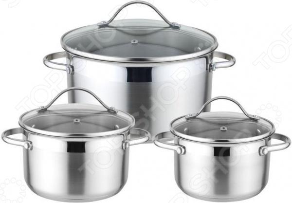 Набор посуды Winner WR-1100Наборы посуды для готовки<br>Набор посуды Winner WR-1100 - представляет собой комплект из 3-х кастрюль размером от 16 до 24 см. Все кастрюли изготовлены из высококачественной стали, предназначены для приготовления самых различных блюд, в них можно сварить первые блюда, а так же потушить овощи, мясо и рыбу. Равномерное распределение тепла способствует ускорению процесса приготовления блюд, при этом сохраняются все полезные вещества и витамины. Благодаря особому креплению, исключается возможность нагрева ручек. Каждая кастрюля укомплектована крышкой соответствующего размера из закаленного стекла с удобной ручкой, которая так же не нагревается.<br>