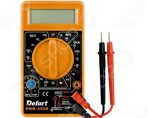 Мультитестер Defort DMM-600N предназначен для измерения напряжения постоянного тока, силы постоянного тока, напряжения переменного тока, силы переменного тока, сопротивления, для проверки диодов, а также непрерывности электрических цепей. Цифровой мультиметр работает от батареи с напряжением 9 В.