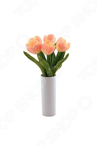 Настольная LED-лампа CТАРТ Тюльпаны 5Настольные лампы<br>Настольная LED-лампа CТАРТ Тюльпаны 5 это оригинальный светильник, выполненный в виде цветка. Такая лампа будет не просто функциональной и полезной вещью в доме, но и отличным украшением комнаты. Лампу можно также использовать в качестве ночника. Она сделана из пластика и ткани и работает от батареек типа АА. Этот уникальный светильник создан по образу настоящего цветка. И если за настоящим цветком нужно тщательно ухаживать, то светильник очень прост в уходе и цветет круглый год. Встроенные в бутоны светоиды будут служить долго и они абсолютно безопасны, так что такие цветы будут радовать вас не один год.<br>