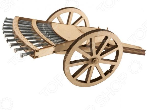 Сборная модель пистолета Revell «Леонардо да Винчи»Оружие<br>Сборная модель Леонардо да Винчи представляет собой точную копию настоящего многоствольного пистолета. Состоит из 46 деталей, которые юный механик должен собрать сам. Во время игры с таким орудием у ребенка развивается мелкая моторика рук, фантазия и воображение. Установка выпущена известной компанией по производству игрушек Revell. Изготовлена из дерева и обладает потрясающей детализацией. Сборная модель Леонардо да Винчи является отличным подарком не только ребенку, но и коллекционеру.<br>