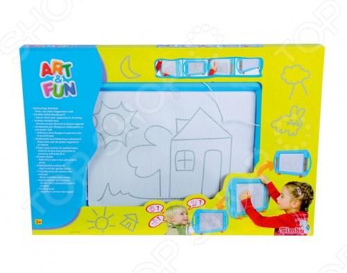 Экран для рисования Simba 6337136 отличный подарок для вашего малыша. Наличие специальной ручки позволит ребенку творить настоящие шедевры. Для очистки рисунка необходимо просто провести рычажок вдоль поля и доска готова к новым картинам. Игрушка изготовлена из высококачественного пластика, который полностью безопасен для детей. Экран для рисования Simba 6335188 поможет развить творческие способности, воображение и художественный вкус вашего ребенка.