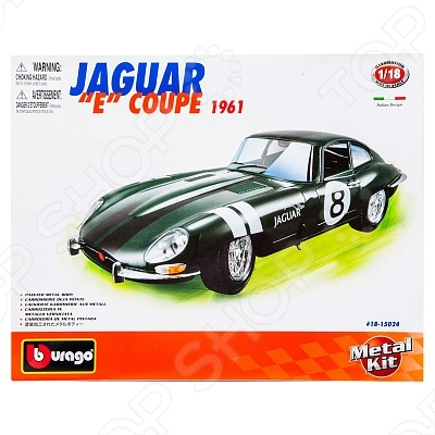 Сборная модель автомобиля 1:18 Bburago Jaguar Е Coupe модель автомобиля bburago mercedes amg c coupe dtm масштаб 1 32