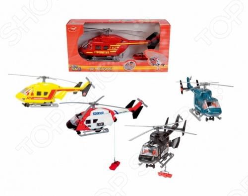 Вертолет Dickie. В ассортиментеСамолеты. Вертолеты<br>Товар продается в ассортименте. Вид изделия при комплектации заказа зависит от наличия товарного ассортимента на складе. Вертолет Dickie отличный подарок для вашего ребенка. При движении по поверхности полости игрушки начинают вращаться. В открывающемся заднем грузовом отсеке находится кабельная лебёдка, управляющаяся вручную. Игра с такой техникой помогут развить моторику ручек ребенка и логику. Вертолет придется по душе маленьким пилотам, научит быть внимательными, быстро реагировать на ситуацию и фантазировать. Игрушка изготовлена из нетоксичного и высококачественного материала, который полностью безопасен для детей. Вертолет Dickie станет любимой игрушкой вашего малыша.<br>
