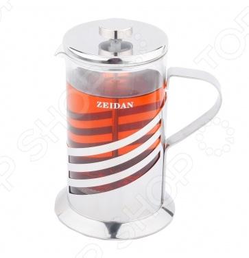 Френч-пресс Zeidan Z4065Френч-прессы<br>Френч-пресс Zeidan Z-4065 представляет собой устройство для приготовления чая и кофе путем настаивания и последующего отжима заваренного напитка при помощи специального поршня. Модель весьма удобна, компактна и практична в использовании. Корпус френч-пресса выполнен из высококачественного жаропрочного стекла, устойчивого к перепадам температур. Модель снабжена емкостью на 600 мл, эргономичной ручкой и носиком для удобства наливания жидкостей.<br>