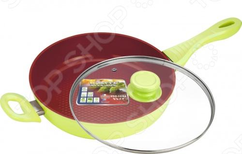 Сковорода с керамическим покрытием Vitesse Avignon в ассортиментеСковороды<br>Товар продается в ассортименте. Возможные варианты цвета: бежевый, салатовый. Цвет изделия при комплектации заказа зависит от наличия цветового ассортимента товара на складе. Сковорода с керамическим покрытием Vitesse Avignon выполнена из высококачественного литого алюминия с антипригарным покрытием и оснащена антидеформационным диском на дне. Удобная, термостойкая бакелитовая ручка. В комплекте крышка из термостойкого стекла. Внутреннее керамическое покрытие Eco-Cera 2.<br>