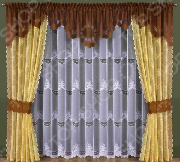 Комплект штор Wisan 184WШторы<br>Комплект штор Wisan 184W это качественный оконный занавес, который преобразит интерьер и оживит атмосферу, придав всей комнате домашний уют, завершенность и оригинальность. Шторы изготовлены из полиэстера, который практически не мнется, легко отстирывается от загрязнений, не притягивает пыль и не требует глажки. Благодаря этому ткань способна выдержать сотни стирок без потери цвета и прочности. Обычные материалы со временем выгорают, на них собирается пыль, появляются неприятные запахи. С полиэстером этого не происходит штора почти не пачкается и не впитывает запахи, при этом вы очень легко ее постираете и высушите. Интерьер квартиры или дома, в котором окна не украшены занавесом, сегодня трудно представить, поэтому шторы станут отличным подарком для любого человека. Купить шторы способ недорого, быстро и изящно преобразить дизайн домашнего интерьера!<br>