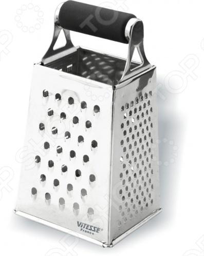 Терка с поддоном Vitesse AstridТерки. Шинковки<br>Средних размеров терка Vitesse Astrid с поддоном отличается многофункциональностью и элегантным дизайном в виде зеркальной полировки. Поможет быстро измельчить нужные продукты для готовки. Изготовлена из нержавеющей стали. Можно мыть в посудомоечной машине.<br>