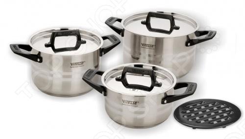 Набор кастрюль Vitesse Christine кастрюля с крышкой сковородой vitesse ferro