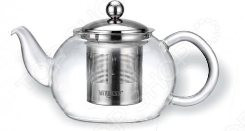 Чайник заварочный Vitesse пригодится для чаепития в большой компании. В него удобно засыпать заварку благодаря фильтру из нержавеющей стали. Ручка и корпус сделаны из термостойкого стекла.