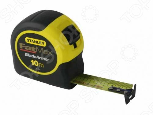 Рулетка STANLEY FatMax 0-33-811Рулетки. Мерные ленты<br>Рулетка STANLEY FatMax 0-33-811 это отличная рулетка с пластмассовым хромированным корпусом. Покрытие Mylar обладает повышенной устойчивостью к абразивному износу и послужит вам до десяти раз больше по сравнению с обычными рулетками. Есть крючок для точных внутренних и внешних измерений, ширина самой ленты: 32 мм. Эта рулетка будет удобна для работы на стройке за счет возможности крепления инструмента к поясу. Есть фиксатор положения ленты.<br>