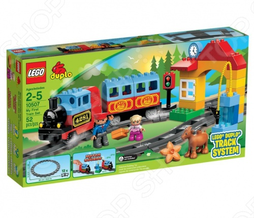 Конструктор LEGO Мой первый поезд прекрасный подарок для мальчиков и всех любителей железной дороги. Отправляйтесь в импровизированное путешествие на паровозе с одним вагоном, которым управляет машинист. Кроме того, в комплекте идут рельсы, арка имитирует станцию , фигурка ребенка и горного козла. В комплект также входят три батарейки типа АА. LEGO знаменитый бренд в мире игрушек, радующий детей с 1932 года. Деятельность компании охватывает 130 стран по всему миру. Их игрушки направлены на развитие творческого мышления ребенка в ходе игры. Однако конструкторы LEGO любимы не только детьми, но и взрослыми.