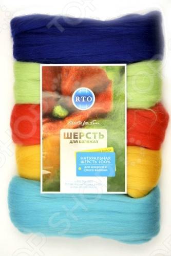 Шерсть для валяния RTO WF100/2Фелтинг<br>Товар продается в ассортименте. Цвет изделия при комплектации заказа зависит от наличия цветового ассортимента товара на складе. Шерсть для валяния RTO WF100 2 станет великолепным материалом, с помощью которого вам удастся сделать множество неповторимых, оригинальных, наполненных харизмой и индивидуальностью вещей и предметов, несомненно являющимися украшением любой обстановки. Но для того, чтобы добиться максимального эффекта, необходима шерсть высокого качества, которая не линяет в процессе валяния и при будущих стирках, а так же легко расчесывается и разделяется на пряди. В наборе шерсть пяти цветов.<br>