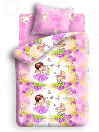 Детский комплект постельного белья Непоседа Девочка с зайкойДетские комплекты постельного белья<br>Комплект постельного белья Непоседа Девочка с зайкой это незаменимый элемент детской спальни. Чтобы вы были спокойны, сон вашего ребенка комфортным, а пробуждение приятным, мы предлагаем вам этот комплект постельного белья. Приятный цвет и высокое качество комплекта гарантирует, что атмосфера спальни наполнится теплотой и уютом, а ваш малыш испытает множество сладких мгновений спокойного сна. В качестве сырья для изготовления этого изделия использованы нити хлопка. Натуральное хлопковое волокно известно своей прочностью и легкостью в уходе. Волокна хлопка состоят из целлюлозы, которая отлично впитывает влагу. Хлопок дышит и согревает лучше, чем шелк и лен. Поэтому одежда из хлопка гарантирует владельцу непревзойденный комфорт, а постельное белье приятно на ощупь и способствует здоровому сну. Не забудем, что хлопок несъедобен для моли и не деформируется при стирке. За эти прекрасные качества он пользуется заслуженной популярностью у покупателей всего мира. Комплект постельного белья Непоседа Девочка с зайкой выполнен из ткани бязь. Бязь это одна из самых популярных тканей. Постоянному спросу на такую ткань способствует то, что на протяжении многих лет она остаётся незаменимой в производстве постельного белья, медицинской одежды, мужских сорочек и даже детских пеленок. Это объясняется уникальными свойствами такой ткани: она неприхотлива и долговечна. Постельное белье торговой марки Непоседа позволит даже самому взыскательному покупателю найти продукт по душе и разнообразить интерьер детской комнаты.<br>