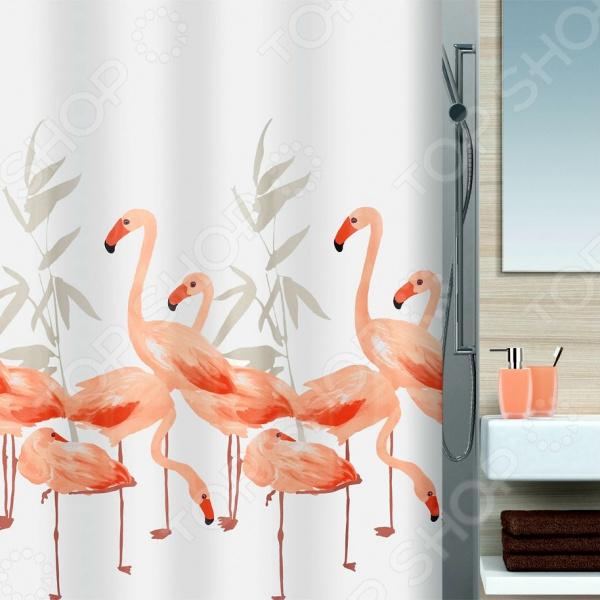 Штора для ванной комнаты Spirella FlamingoКарнизы. Шторки для ванной<br>Штора для ванной комнаты Spirella Flamingo это отличная штора, которая изготовлена из экологически чистого текстиля. Верхняя кромка имеет отверстия для колец. Приятный рисунок успокаивает и замечательно вписывается в дизайн вашей ванной комнаты.<br>