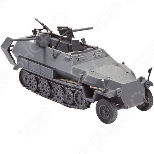 Сборная модель Sd.Kfz. 251 16 Ausf. C представляет собой точную копию настоящего бронетранспортера. Состоит из 143 деталей, которые юный механик должен собрать сам. Во время игры с такой машиной у ребенка развивается мелкая моторика рук, фантазия и воображение. Немецкий полугусеничный БТР выпущен известной компанией по производству игрушек Revell. Изготовлен из пластика и обладает потрясающей детализацией. Сборная модель Sd.Kfz. 251 16 Ausf. C является отличным подарком не только ребенку, но и коллекционеру. Клей, кисточка и краски в комплект не входят.