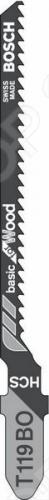 Набор пилок для лобзика Bosch T 119 ВO HCS набор пилок bosch 2 607 010 515 дер пласт мет 3шт 2 607 010 515