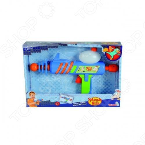 Оружие водное Simba Финнес и Ферб отличный подарок для вашего ребенка. Для использования необходимо залить воду в специальную емкость и ваш ребенок может начинать увлекательную игру. Длина водяного помпового бластера составляет 30 см. Водный пистолет изготовлен из качественной пластмассы и отлично стреляет на дальнее расстояние. Оружие водное Simba Финнес и Ферб станет любимой игрушкой вашего ребенка.