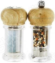 Солонка и перечница Metaltex 25.28.16Емкости для специй. Наборы<br>Солонка и перечница Metaltex 25.28.16 это отличный набор из солонки и перцемолки, которые изготовлены из пластика. Верхняя часть приборов изготовлена из дерева. Эти аксессуары незаменимы на вашей кухне и просты в использовании.<br>