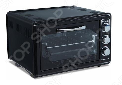 Мини-печь Saturn 1075 является идеальным вариантом для малогабаритной кухни и малобюджетной семьи. Модель оборудована удобными поворотными ручками. Регулируемый термостат до 320 С. Таймер на 90 минут. Режимы нагрева:  верхний  нижний  комбинированный Saturn 1075 прекрасно подойдет для приготовления выпечки, подрумянивания и блюд на гриле. В комплекте противень и решетка-гриль. Нагревательные элементы из нержавеющей стали. Регулировка высоты противня. Автоотключение. Сигнал об окончании приготовления. Световая индикация работы.