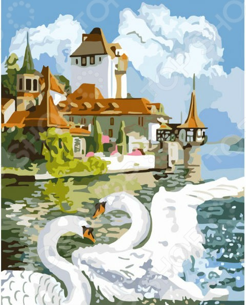 Набор для живописи по номерам на холсте Набор для рисования по номерам «Белоснежка» Лебединая пара. Уцененный товар