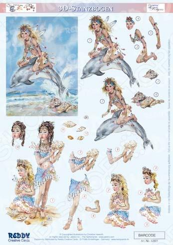 фото Аппликация вырубная для объемных рисунков Reddy Creative Cards «Компаньоны, русалки», купить, цена